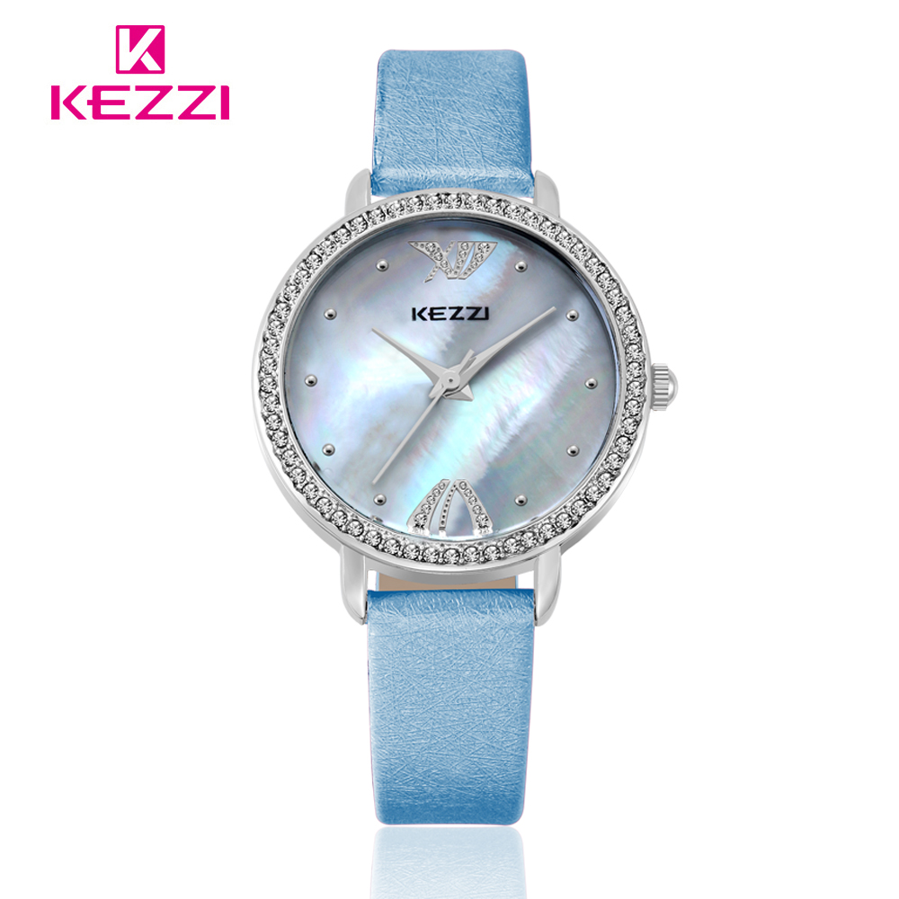 Free shipping 1pcs High Quality KEZZI Top Brand Leather Strap Watches Women Dress Watch Waterproof Ladies Quartz Watch kw1021 free shipping kezzi women s ladies watch k840 quartz analog ceramic dress wristwatches gifts bracelet casual waterproof relogio