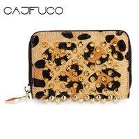 CAJIFUCO Leopard Zipper Card Wallet Studded Porte Carte Spike Credit Card Holder Genuine Leather Rivet Coin Purse Portefeuille