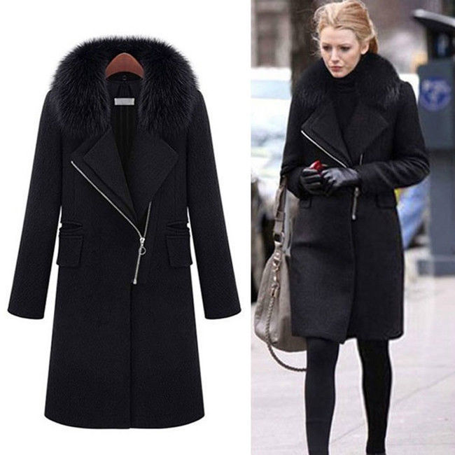women winter fashion fur collar long black parka thick coat jacket w242 in wool blends from. Black Bedroom Furniture Sets. Home Design Ideas