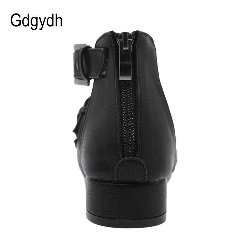 Gdgydh ขายส่ง 2019 ใหม่รองเท้าผู้หญิงฤดูร้อนเปิดนิ้วเท้านุ่มหนัง Gladiator รองเท้าแตะผู้หญิงรองเท้าส้นสูงแฟชั่น Rivets สบาย
