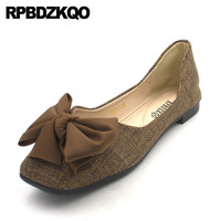 plus size black 2018 slip on large bow brown chinese square toe women cute flats ladies beautiful shoes designer leisure denim
