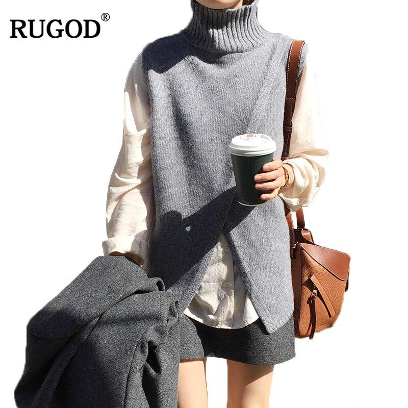 Купить rugod 2020 зима теплый трикотажный жилет без рукавов элегантная