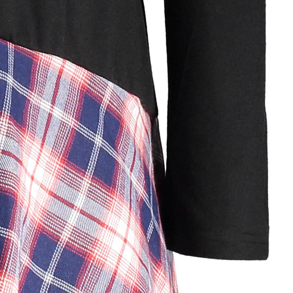 668cf7d99cd9 ... VESTLINDA Long Plus Size Lace Plaid Panel Top Tshirt Women 2017 Autumn  Tops Fashion Loose Long