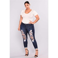 Womens Plus Size Ripped Tight Blue Jeans Trousers Hole Destoryed Denim Stretch Bodycon Pencil Pants For Ladies Streetwear L 5XL
