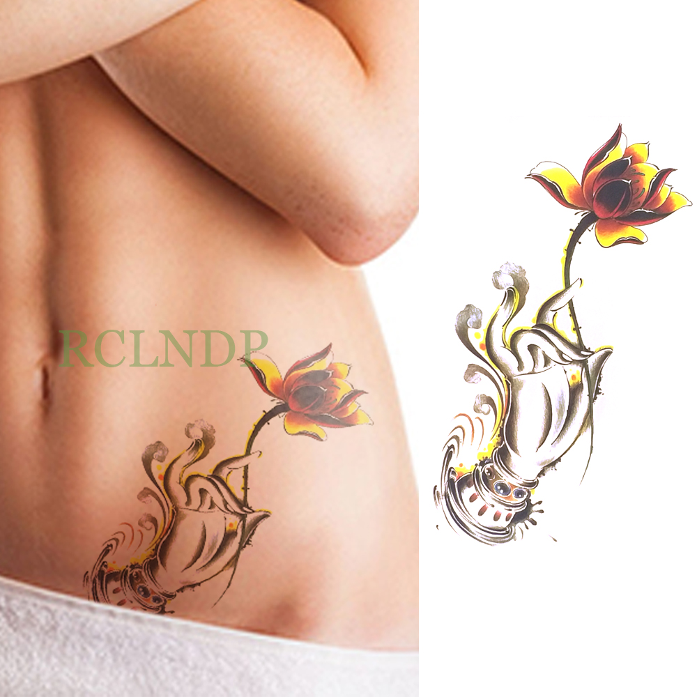 Waterproof temporary tattoo sticker lotus flower rose fake tatto waterproof temporary tattoo sticker lotus flower rose fake tatto flash tatoo back leg arm chest belly large size for women girl in temporary tattoos from izmirmasajfo