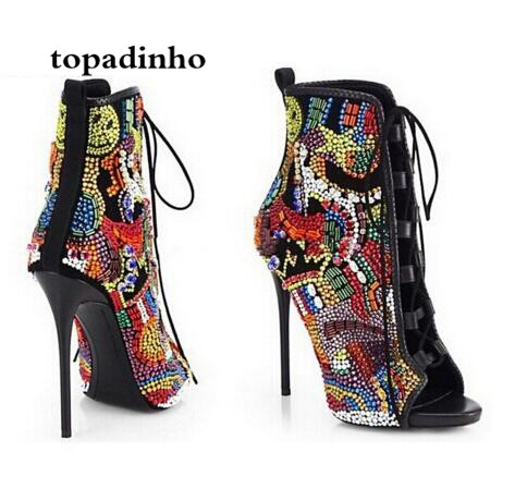 Topadinhon Fashion Designer Women Luxury Rhinestone Ankle Boots Crystal High Heels Party Dress Stilettos Gladiator Botas Femmes 2017 brand new women chelsea boots thick high heels dress shoes woman fashion luxury gladiator short designer booties botas