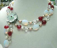 P806 R7 FREE Shipping Fashion 2Rows White Pearl Moonstone Red Ruby Shell Flower Clasp Necklace