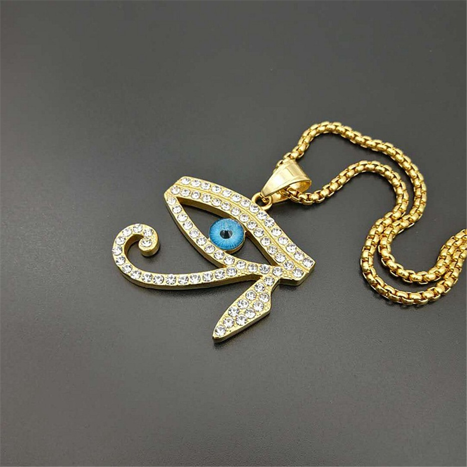 Image 4 - Egyptian The Eye of Horus Pendant Necklace For Women/Men Stainless Steel Evil Eyes Necklace Iced Out Bling Hip Hop Egypt JewelryPendant Necklaces   -