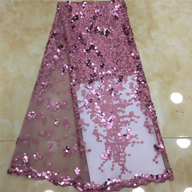 VILLIEA Glittery French Nigerian Laces Fabrics High Quality Sequins Laces Fabric Wedding African French Tulle Lace