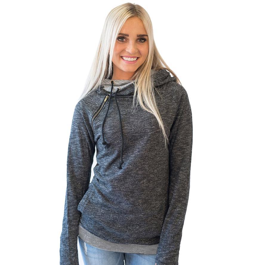 MUQGEW Creative Casual Women Hoodies Long Sleeve Jumper Hooded Pullover Sweatshirt Tops Solid Color Polyester Hoody Women 2017