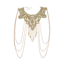 Sexy Body Chain Jewelry Gold Lace Multi-layer Tassel Necklace Body Chain Shoulder Chain цена и фото
