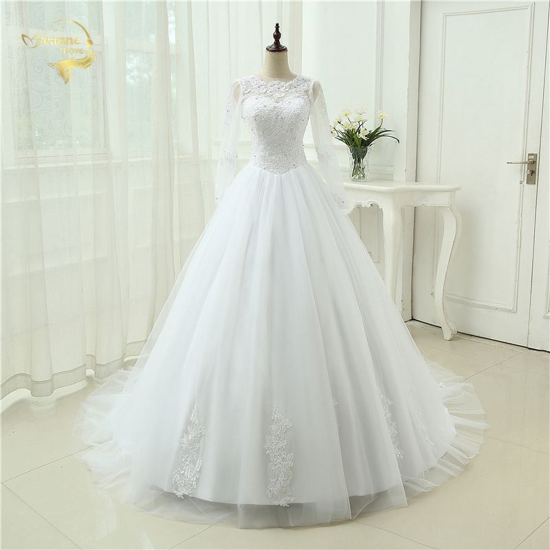 Ivory Vestido De Noiva See Through Casamento A line Robe De Mariage Long Sleeve Bridal Gown Lace Wedding Dresses 2018 OH90993