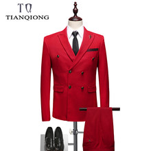 2019 Latest Coat Pant Designs Suit Double Breasted Men Suit Brand-clothing Luxury Mens Suits Wedding Groom Red Mens Formal Wear(China)