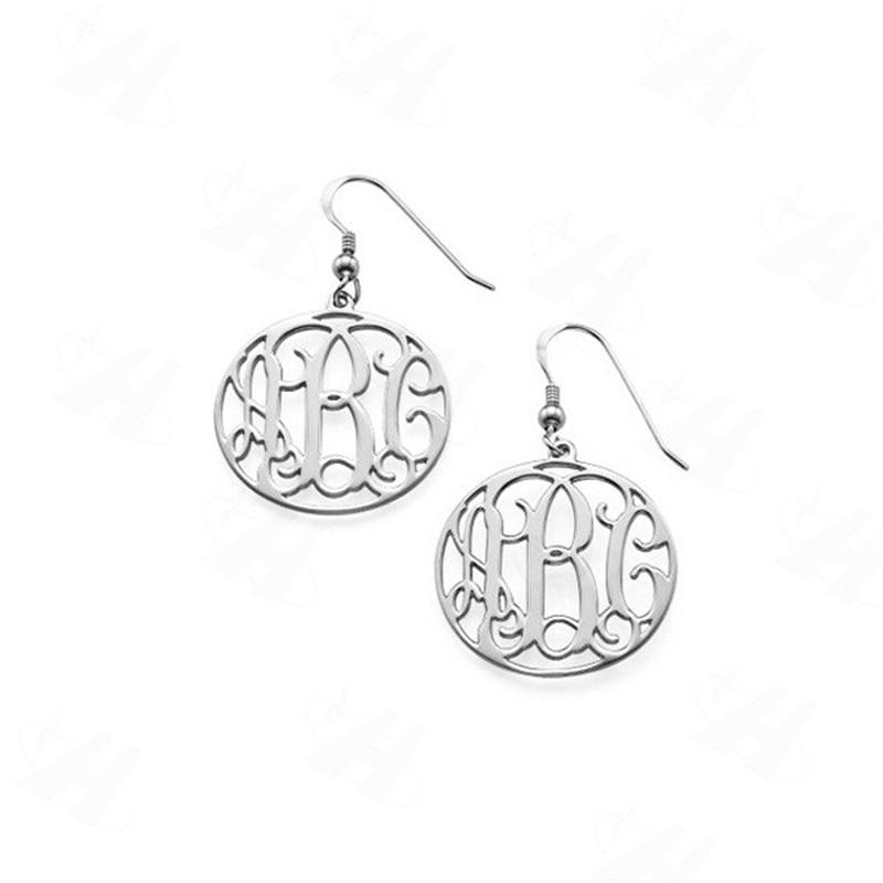Benutzerdefinierte Monogramm erste baumeln Ohrringe Silber Farbe - Modeschmuck