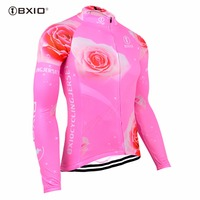 BXIO Mujer Ropa Ciclismo Bike Jersey Therma Fluo Pink Cycling Jerseys Autumn Bicycle Clothing MTB Riding Cloth 121