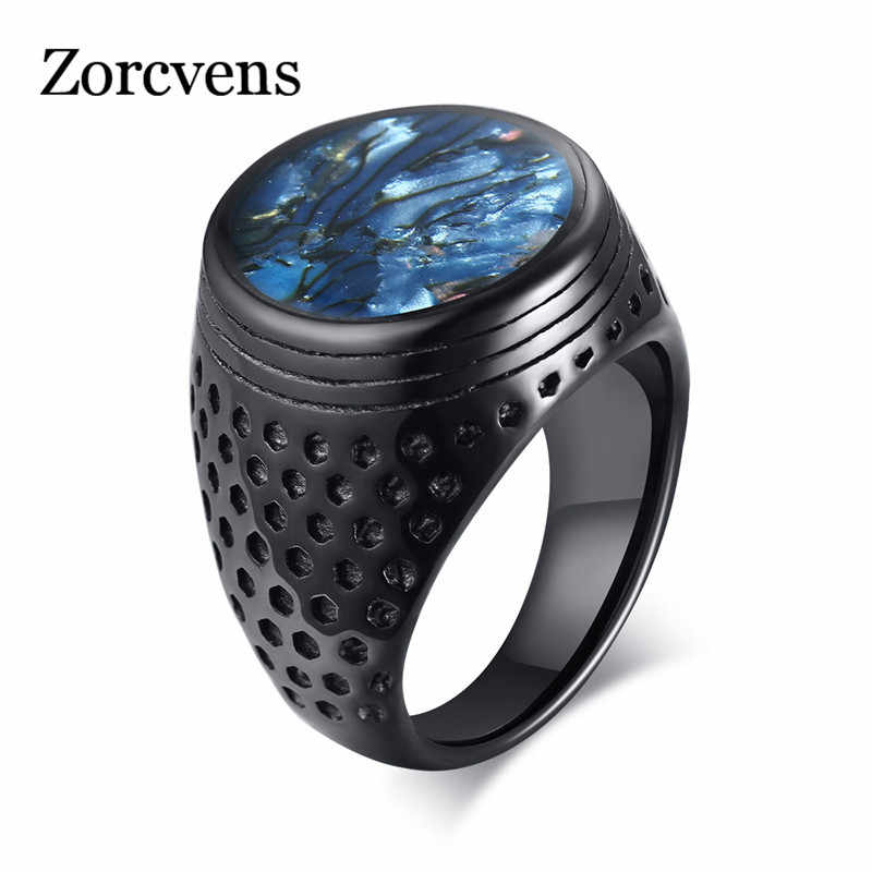 ZORCVENS Mens Blue Shell Flat Signet Ring Punk Black Stainless Steel Heavy Arabic Band Male Alliance Anel Jewelry