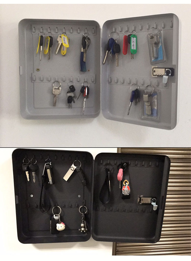 Wall Mounted Key Cabinet Password Lock Security Keybox Storage Box Contains 36 key card For Company Home Office Hanging Car Keys (9)