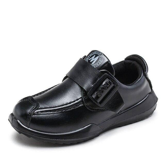 Детские Натуральная Кожа Сингл Shoes Большие Мальчики Модный Бренд Отдых Горох Этап Shoes Clever Kids Shoes 4-12 Лет 2017