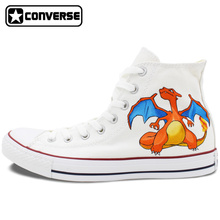 White Converse Shoes Design Anime Pokemon Charizard Dragon Hand Painted Canvas Sneakers Men Women Brand All Star