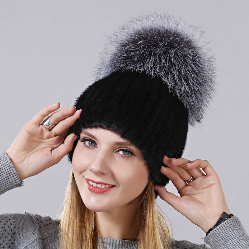 Winter New Style Hat For Women Natural Mink Fur Cap With High Quality Fox Fur On The Top Ladies' Skullies Hat Gourd Shape Cap