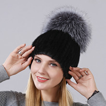 Winter New Style Hat For Women Natural Mink Fur Cap With High Quality Fox On The Top Ladies Skullies Gourd Shape