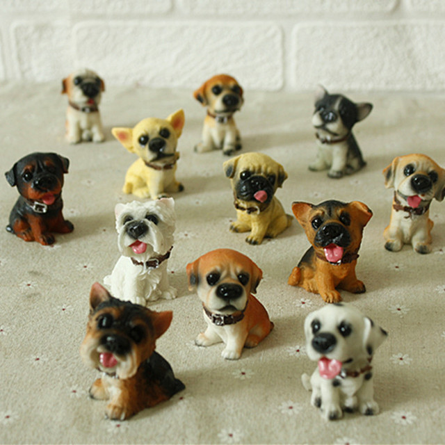 12 Twelve Dogs Resin Crafts Ornaments Birthday Gift Ideas Lucky Puppy Animal Home Decoration