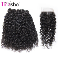 Tinashe Hair Curly Human Hair Bundles With Closure Remy Human Hair Extension 3 Bundles Brazilian Hair