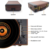 Bluetooth Portable 33/45/78RPM Turntables Vinyl Record Phono Player Aux-in RCA Line-out Built-in Battery 110~240V