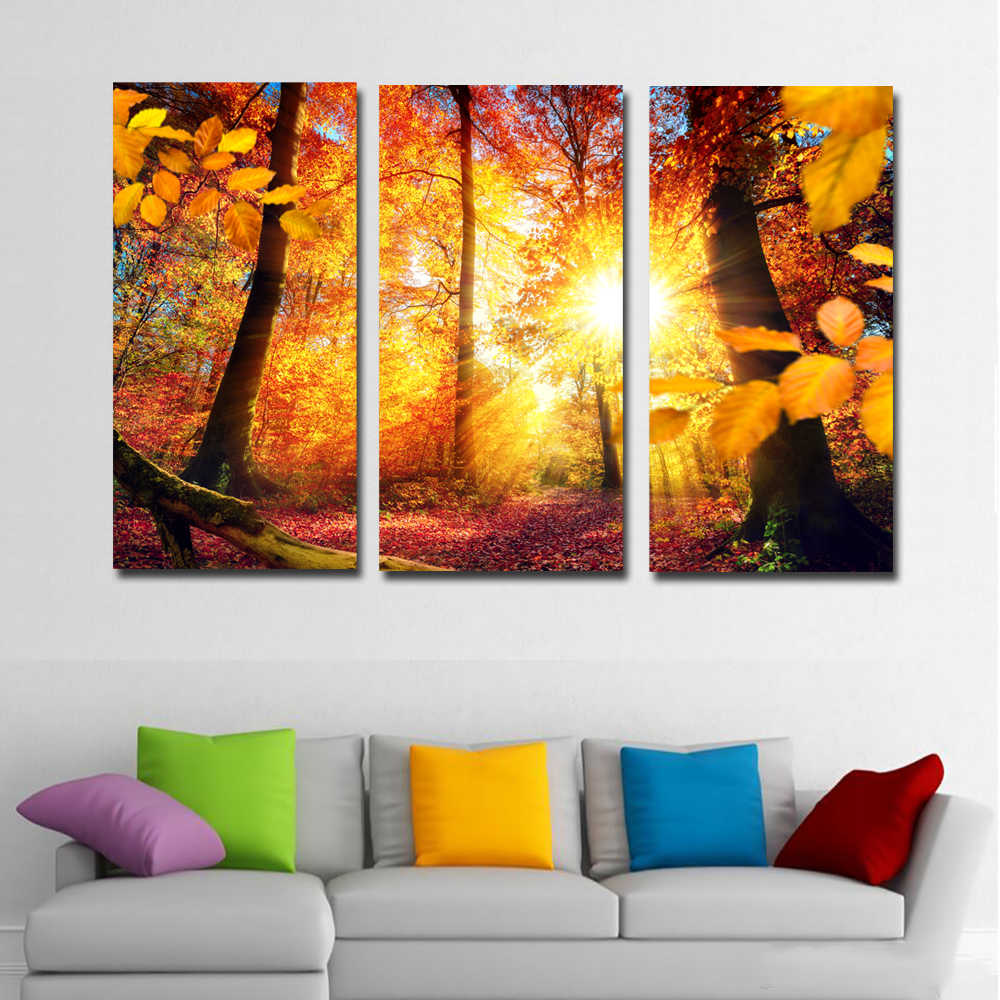 SELFLESSLY 3 Pieces/Set Landscape Oil Paintings Wall Art Print Poster Autumn Sun,Tree Wall Pictures For Living Room Unframed