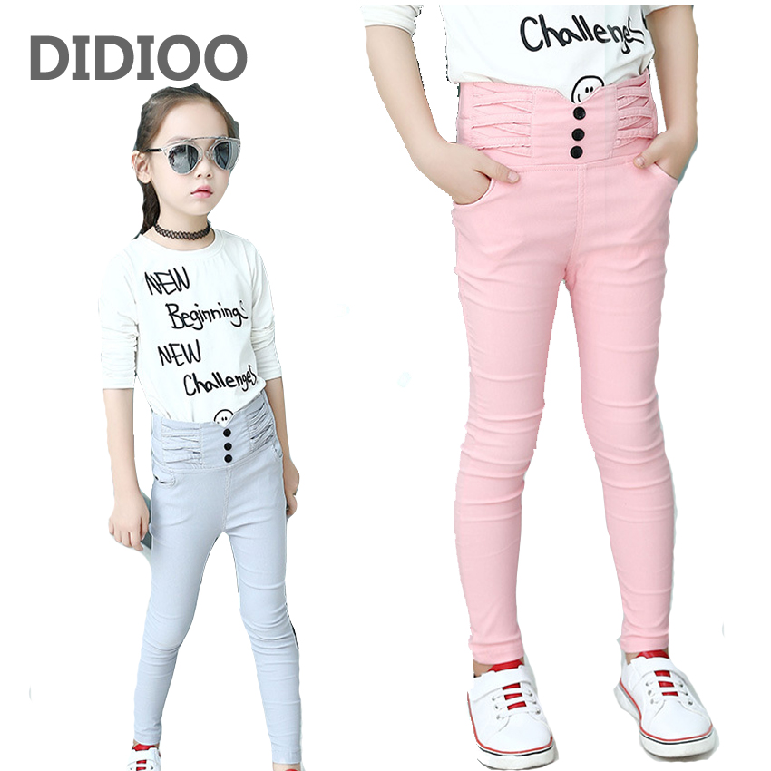 Trousers for Girls Skinny Pants Children Pencil Pants Girls Solid Leggings Big Size Kids Bottom 8 9 12 14 Years High Waist Pants summer women stretch slim pencil pants full length sexy ripped hole skinny high waist trousers plus size pantalon femme