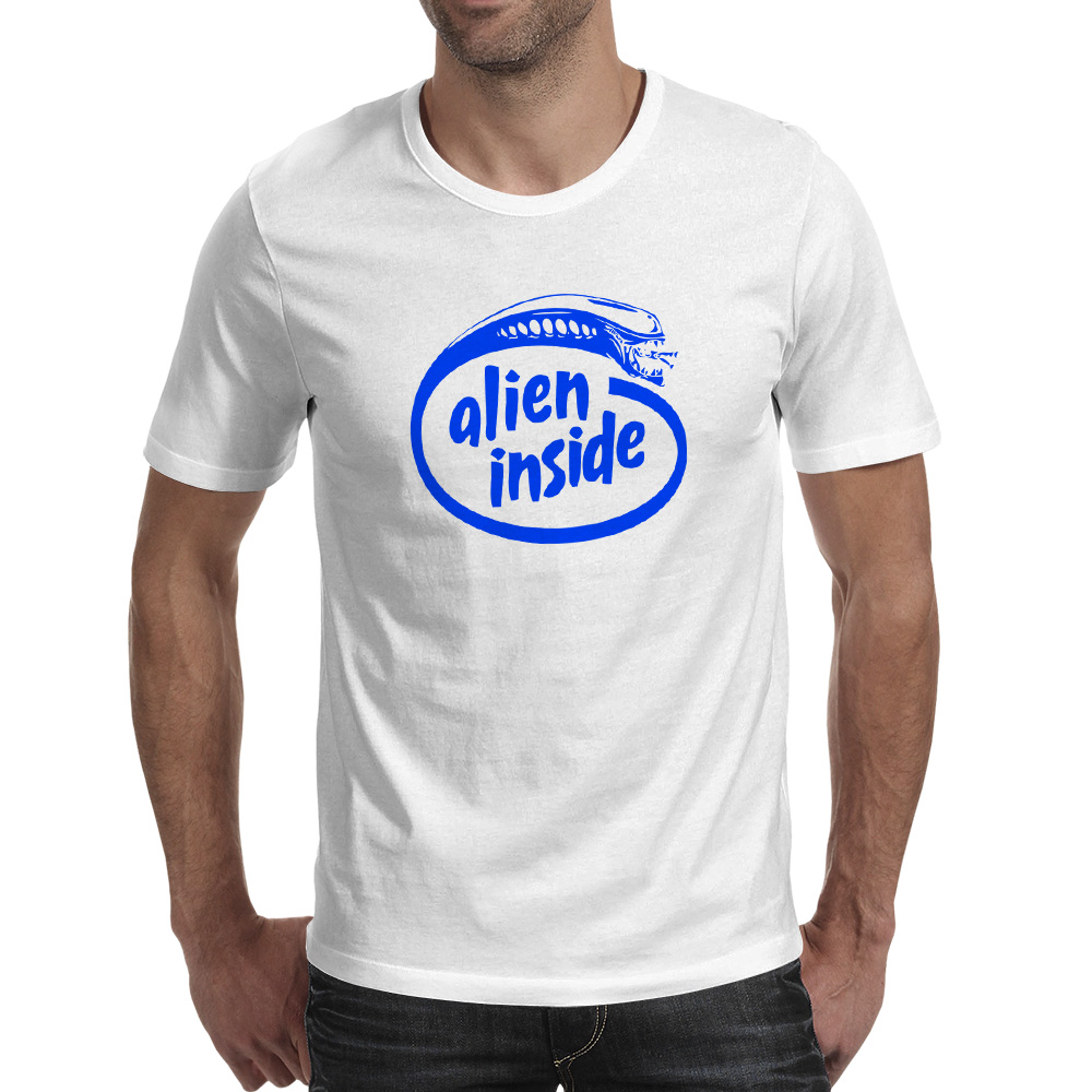 Blue Alien Inside T Shirt Hip Hop Funny Creative T-shirt Casual Skate Anime Unisex Tee