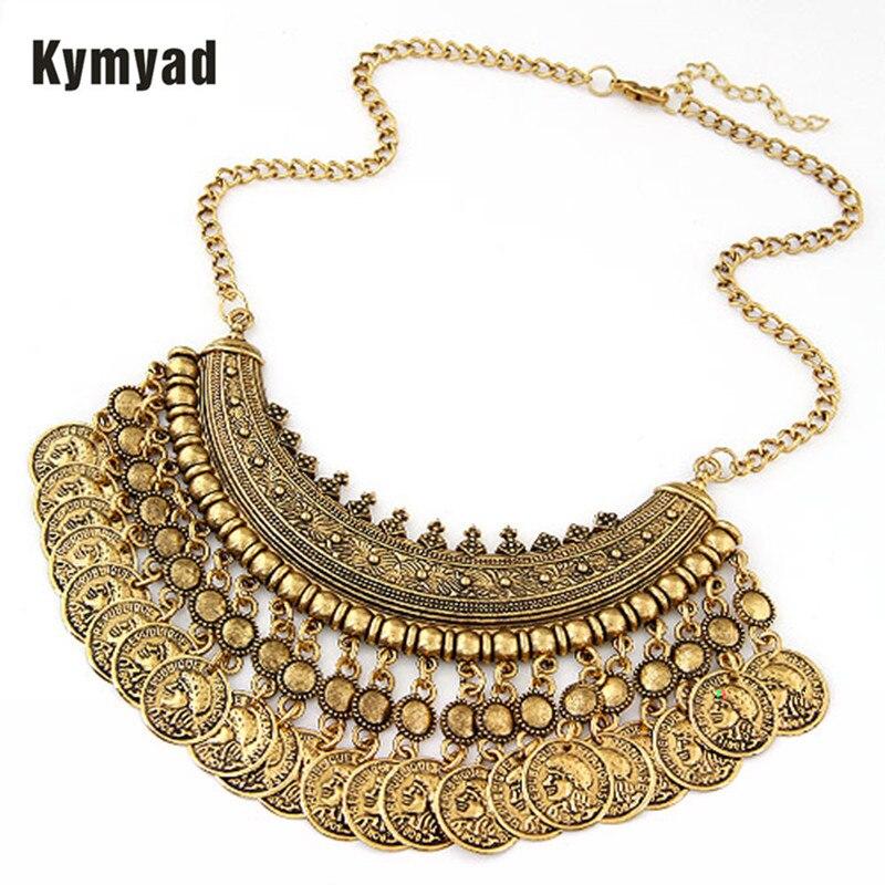 Kymyad Trendy Choker Statement Necklace Womens Jewellery Coin Necklaces & Pendants Bijoux Femme Maxi Colar Accessories