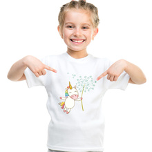 DMDM PIG Toddler Kids Girl Unicorn Clothing Tops Summer Short Sleeve T-shirts For Girl Clothes Casual TShirt 2 3 4 5 6 7 8 Years цена и фото
