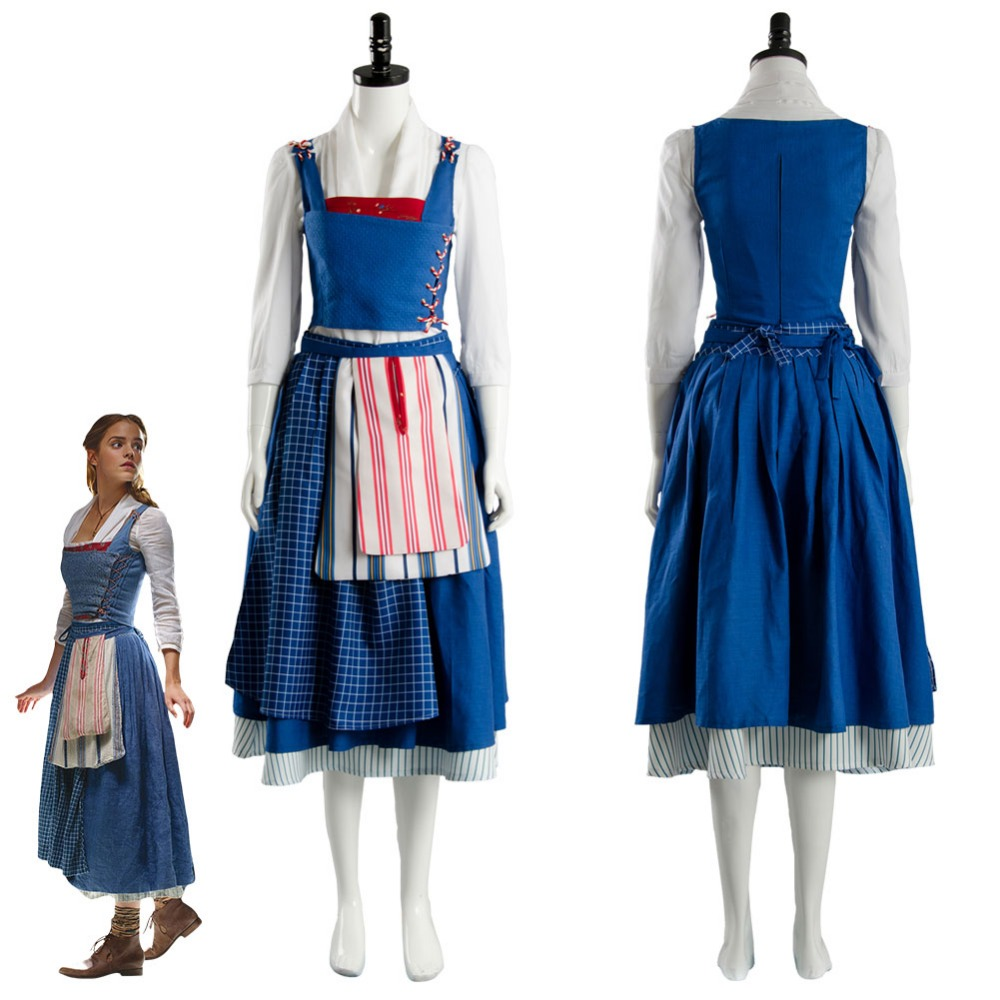 2017 Film Beauty and the Beast Belle Costume Emma Watson Cosplay Costume Maid Suit Dress