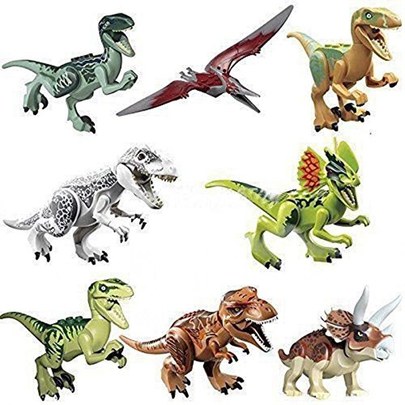 8pcs lot Dinosaurs of Jurassic Figure World movie font b Toy b font DIY Building Blocks
