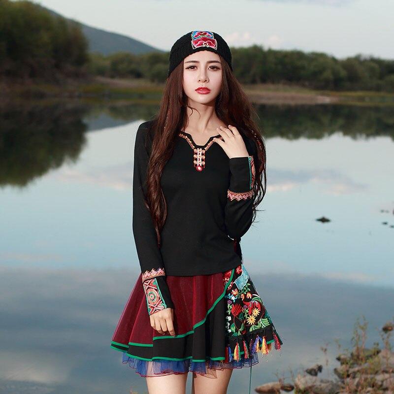 Livraison 3xl M Gratuite Manches T Automne 2018 Mode Broderie Imprimer Chinois Nouvelle shirts shirt National Longues Printemps Style Tops Noir À Femmes T rrTAwqfa