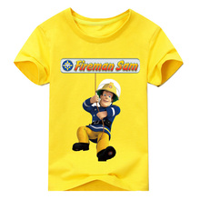 hot deal buy 2018 new firemen cartoon t shirt for boys clothes short sleeve o-neck fireman print t-shirt for toddler boys clothing 2y-10y