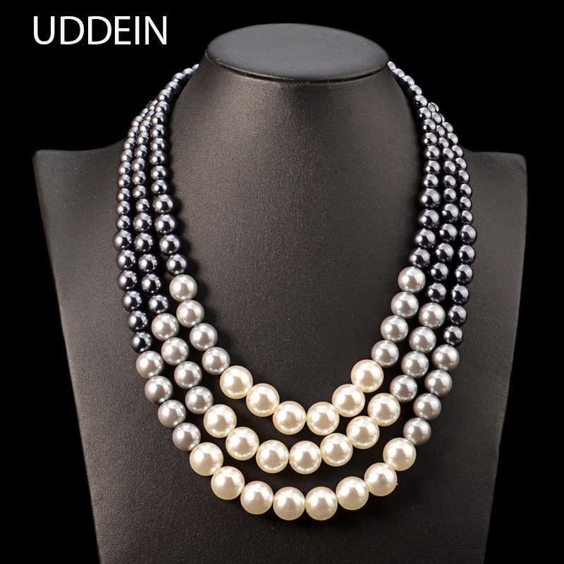 UDDEIN Ethnic statement necklace for women Multi layer simulated pearl jewelry bib beads maxi necklace African bead jewelry