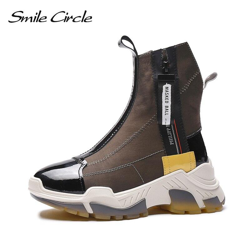 Uśmiech koło 2019 buty zimowe kobiety Chunky buty okrągłe toe płaskie buty na koturnie platformy trampki wysokie buty w Buty do połowy łydki od Buty na  Grupa 1