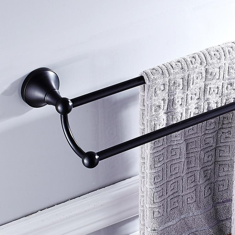 AUSWIND Vintage Round Base Black Solid Brass Wall Mounted Bathroom Accessories Towel Bar 2 Layers LQ04AUSWIND Vintage Round Base Black Solid Brass Wall Mounted Bathroom Accessories Towel Bar 2 Layers LQ04