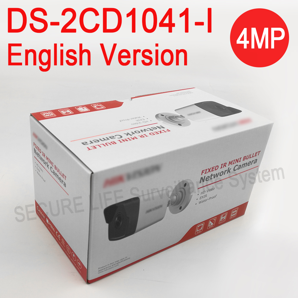 English versionDS-2CD1041-I replace DS-2CD2032F-I DS-2CD2035F-I 4MP MINI bullet POE IP camera, CCTV security Camera H.264+ 10pcs lot multi language hik ip camera ds 2cd2345 i replace ds 2cd2335 i 4mp poe 1080p ir night vision cctv security ip camera
