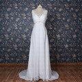 Настоящее фото пляж свадебное платье шифон белого кружева томара дие Caia v-образным вырезом Vestido де Noiva высокое качество свадебное платье Casamento