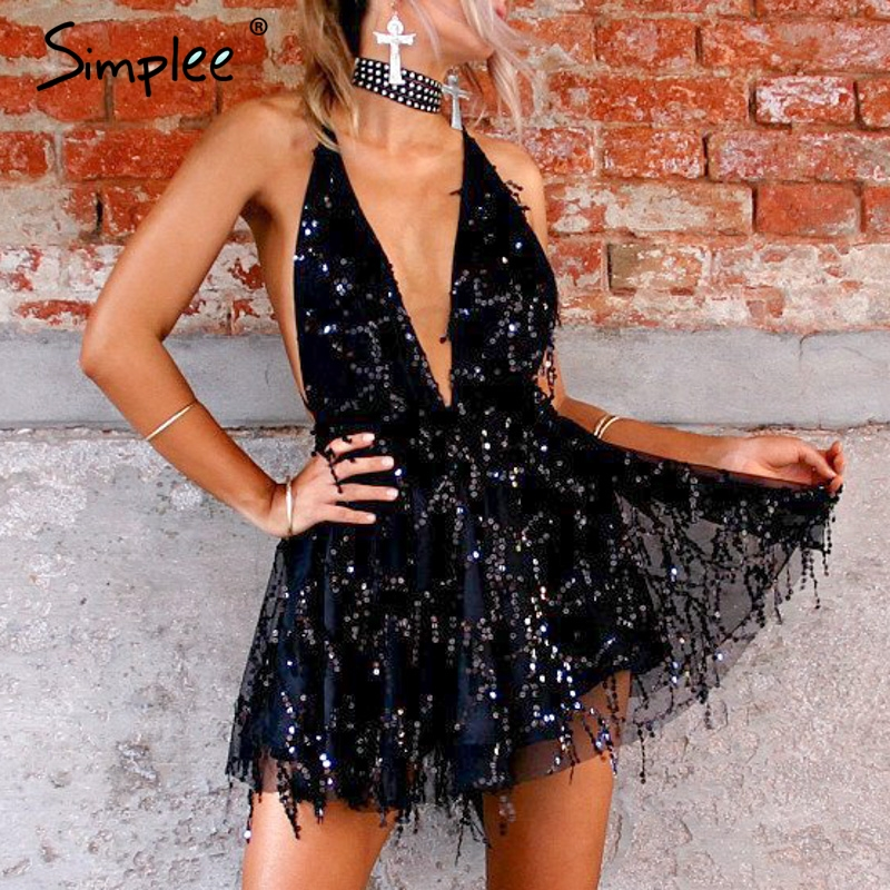 Simplee Sexy sequined mesh women playsuit elegant v-neck Backless lining ladies short   jumpsuit   romper High wasit tassel overalls