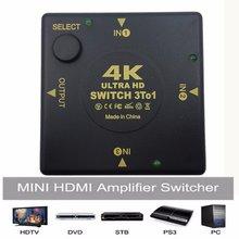 BESIUNI 4K Switcher HDMI dağıtıcı 4K * 2K 3D Mini 3 Port HDMI anahtarı 3 in 1 out DVD Hub için Hub Hub HDTV Xbox PS3 PS4 1080P