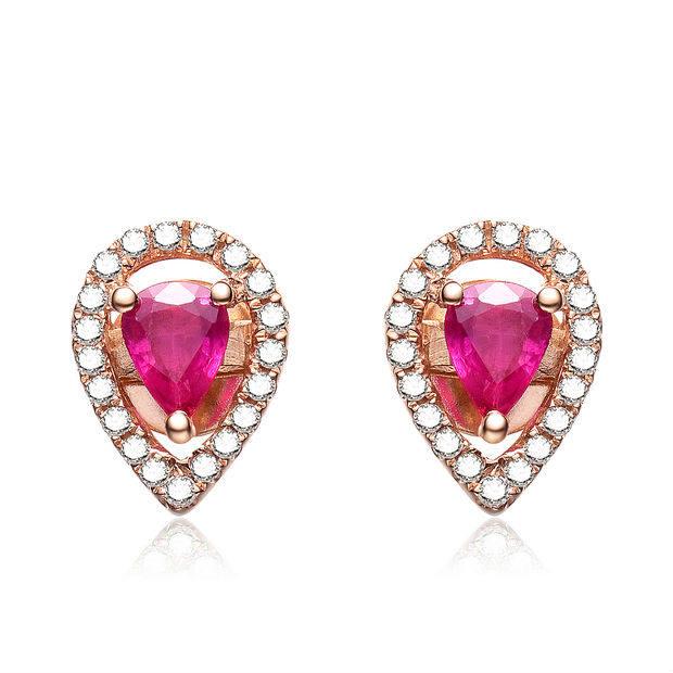 Natural Ruby Earrings Diamond For Wedding Women Gemstone Authentic Brand Fine Jewelry Valentine Drop Design