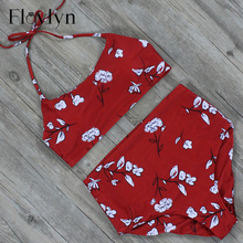 Floylyn High Waist Vintage Halter Female Bikini Swimwear Set