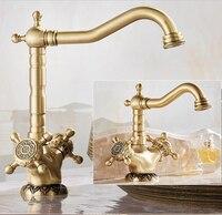 Free Shipping Antique Bronze Finish 360 Degree Swivel Brass Basin Faucet Bathroom Basin Sink Mixer Kitchen