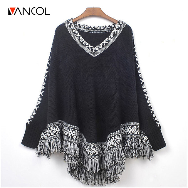 Vancol 2016 Winter Cape Women Tops Autumn Thick Retro Ethnic Totem V Neck Loose Sweater Black Fringe Batwing Knitting Poncho