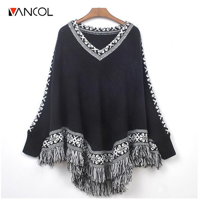 Vancol 2016 cape inverno mulheres tops outono grosso retro ethnic totem v do pescoço solto camisola preto franja batwing poncho de tricô