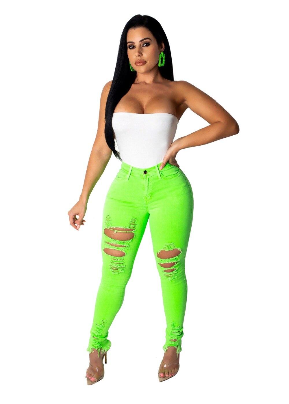 New Sexy Hole Ripped   Jeans   Women Denim   Jeans   Skinny Pencil Pants Clubwear   Jeans   Femme